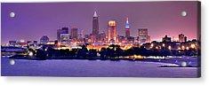 Cleveland Skyline At Night Evening Panorama Acrylic Print by Jon Holiday