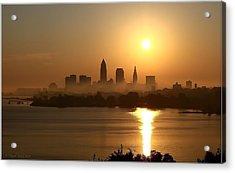 Cleveland Skyline At Sunrise Acrylic Print