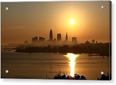 Cleveland Skyline At Sunrise Acrylic Print by Daniel Behm