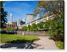Cleveland Skyline From Riverbed Road Acrylic Print by Terri Harper