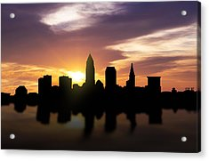 Cleveland Sunset Skyline  Acrylic Print by Aged Pixel