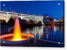 Cleveland Veterans Bridge Fountain Acrylic Print