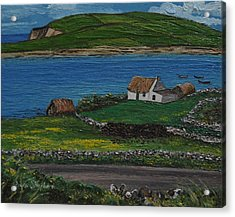 Clifden Thatched Cottage Sky Road Connemara Ireland Acrylic Print