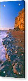 Cliff On The Beach, Burton Bradstock Acrylic Print by Panoramic Images