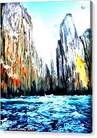 Acrylic Print featuring the painting Cliffs By The Sea by Bruce Nutting
