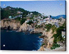 Acrylic Print featuring the digital art Cliffs In Acapulco Mexico I by Kenneth Montgomery