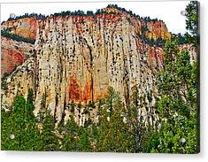 Cliffs Near Checkerboard Mesa Along Zion-mount Carmel Highway In Zion National Park-utah Acrylic Print