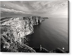 Cliffs Of Moher Ireland In Black And White Acrylic Print by Pierre Leclerc Photography