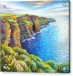 Acrylic Print featuring the painting Cliffs Of Moher by Nancy Tilles