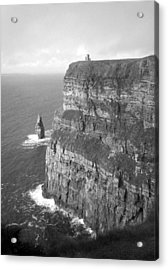 Cliffs Of Moher - O'brien's Tower B N W Acrylic Print