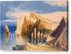 Cliffs On The North East Side Of Point Acrylic Print by John Sell Cotman