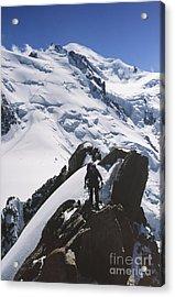 Climber On Mt Blanc In France Acrylic Print by Soren Egeberg
