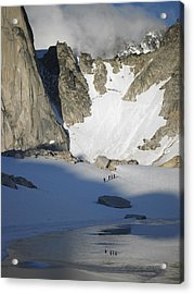 Climbers Enroute To The Bugaboo Snowpatch Col Acrylic Print