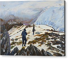 Climbers - Painting Acrylic Print by Veronica Rickard