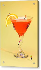 Climbing On Red Wine Cup Acrylic Print by Paul Ge