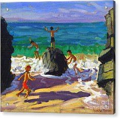 Climbing Rocks Porthmeor Beach St Ives Acrylic Print