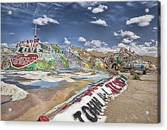 Climbing Salvation Mountain Acrylic Print by Hugh Smith