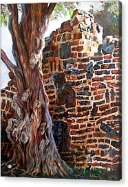 Acrylic Print featuring the painting Clinker Wall by LaVonne Hand