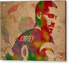 Clint Dempsey Soccer Player Usa Football Seattle Sounders Watercolor Portrait On Worn Canvas Acrylic Print by Design Turnpike