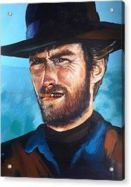 Clint Eastwood Portrait Acrylic Print by Robert Korhonen