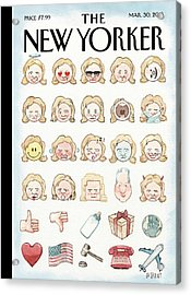 Clinton's Emoji Acrylic Print by Barry Blitt