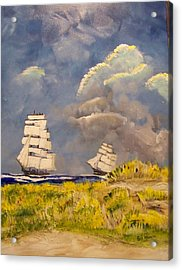 Clipper Ships Safely Round Cape Horn Acrylic Print by Rich Mason