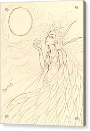 Cloak Of Feathers Sketch  Acrylic Print by Coriander  Shea
