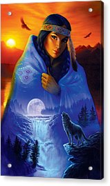 Cloak Of Visions Portrait Acrylic Print by Andrew Farley