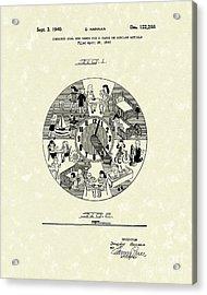 Clock Hands 1940 Patent Art Acrylic Print