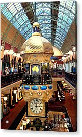 Clock In Sydney Mall Acrylic Print by John Potts