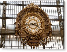 Clock In The Musee D'orsay. Paris. France Acrylic Print by Bernard Jaubert