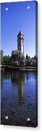Clock Tower At Riverfront Park Acrylic Print by Panoramic Images