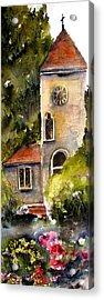 Acrylic Print featuring the painting Clock Tower England by Marti Green