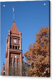 Clock Tower Acrylic Print by J L Zarek