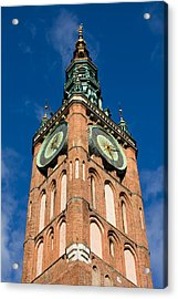Clock Tower Of Main Town Hall In Gdansk Acrylic Print by Artur Bogacki