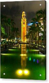 Clock Tower Of Old Kowloon Station Acrylic Print by Hisao Mogi