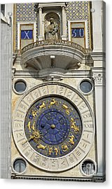 Clock Tower On Piazza San Marco Acrylic Print by Sami Sarkis