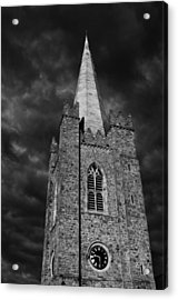 Acrylic Print featuring the photograph Clock Tower - St. Patrick's Cathedral - Dublin by Photography  By Sai