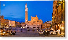 Clock Tower With A Palace In A City Acrylic Print by Panoramic Images