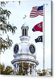 Clock Tower With Tennessee Mia Us Flag Art Acrylic Print