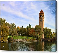 Clocktower And Autumn Colors Acrylic Print