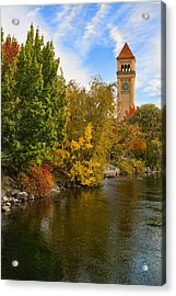 Clocktower In Fall Acrylic Print