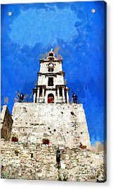 Clocktower With Guarding Knights Painting Acrylic Print by Magomed Magomedagaev