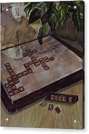 Clockwise Green Acrylic Print by Janet Felts