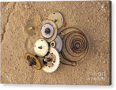 Clockwork Mechanism On The Sand Acrylic Print by Michal Boubin
