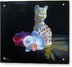 Acrylic Print featuring the painting Cloisonne Cat by LaVonne Hand