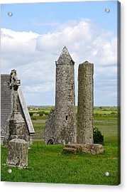 Acrylic Print featuring the photograph Clonmacnoise Towers by Suzanne Oesterling