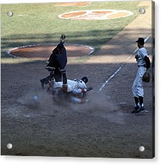 Close Play At The Plate  Acrylic Print by Retro Images Archive