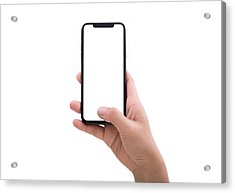 Close Up Hand Hold Phone Isolated On White Acrylic Print by Issarawat Tattong