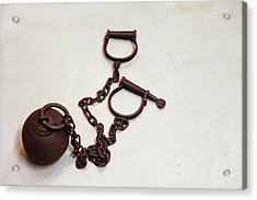 Close Up Of A Ball And Chain Shackles Acrylic Print by Julien Mcroberts